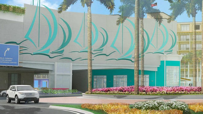 Part of the proposed Grand Resorts - FMB plan, a public/private parking garage serves as the gateway to a redeveloped oceanfront of hotels and commerce, and a rerouted Estero Boulevard to ease traffic.