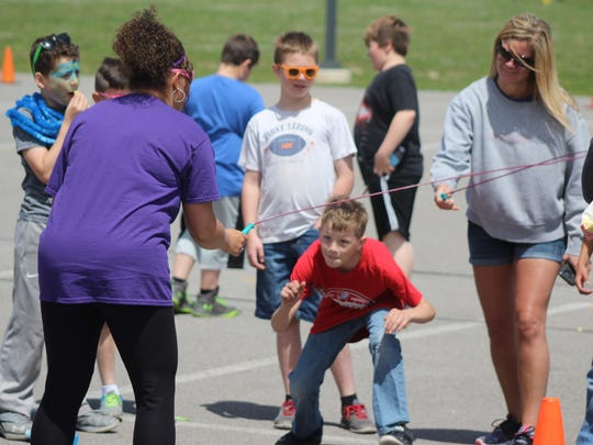 Jump rope was one of several stations for students along the mini Relay for Life course at Elgin Elementary School.