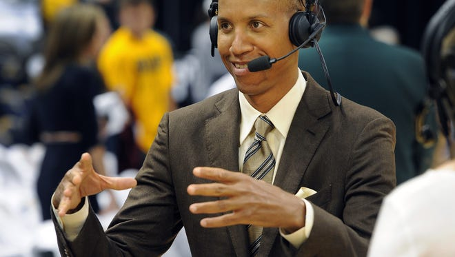 Former Pacer great Reggie Miller, now works for TNT, does a tv spot before the Pacers and Heat game. Indiana Pacers play the Miami Heat in game #3 of the Eastern Conference Finals Sunday, May 26, 2013, evening at Bankers Life Fieldhouse. Matt Kryger / The Star