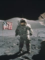 In this Dec. 12, 1972, photo provided by NASA, Apollo 17 commander Eugene Cernan stands on the moon. Apollo Next Generation Sample Analysis Program will study some of the previously unsealed moon rocks from Apollo 17.