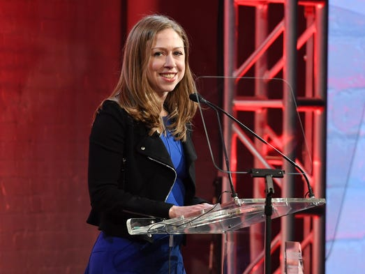 Chelsea Clinton speaks onstage at the GMHC 35th Anniversary