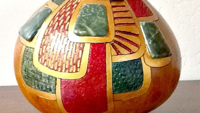 Gourd art by Wanda Sparks will be featured in the Artists of Picacho Avenue sixth annual Holly Day House on Saturday and Sunday at West End Depot, 401 N. Mesilla St.