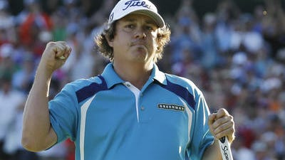 Jason Dufner celebrates winning the PGA Champion-ship on Sunday at Oak Hill Country Club in Pittsford, N.Y.