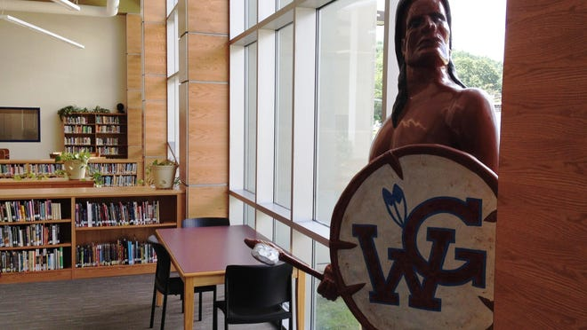This statue of a Seneca Indian appeared for several years in the library at Watkins Glen High School. It was recently removed from there.