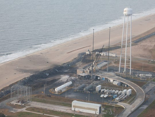 An aerial view of the Wallops Island launch facilities