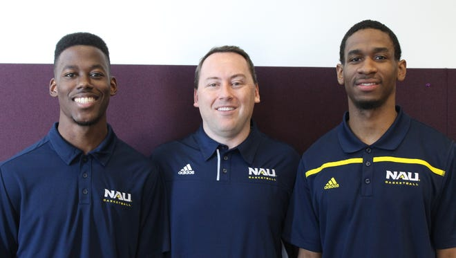 From left to right, NAU men's basketball guard Malcolm Allen, head coach Jack Miller and guard Torry Johnson.