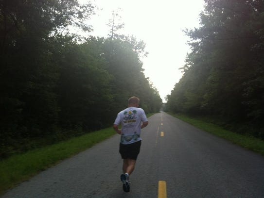 Fruitland resident Trent Swanson goes for a run.