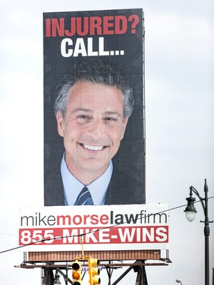 A giant Mike Morse billboard is impossible to miss when crossing over 8 Mile from Detroit into Ferndale on Tuesday, May 22, 2018.