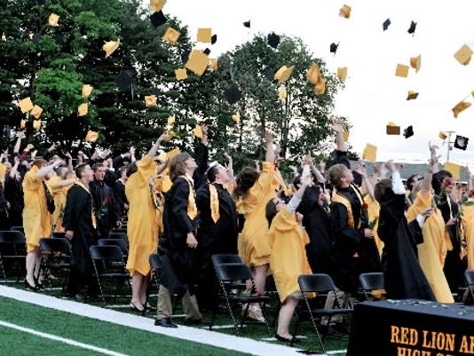 Red Lion students wore black and gold gowns at graduation in 2012. (File photo)