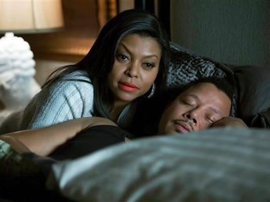 "This photo provided by Fox shows,Taraji P. Henson, left, as Cookie, and Terrence Howard, right, as Lucious, in the special two-hour ""Die But Once/Who I Am"" season finale episode of ""Empire."" ""Empire"" and ""Mad Men"" are among the leading contenders for the 67th Emmy Award nominations, to be announced 11:30 a.m. EDT Thursday, July 16, 2015, in West Hollywood, Calif. The Los Angeles ceremony will air Sept. 20 on Fox with host Andy Samberg. (Chuck Hodes/Fox via AP)"