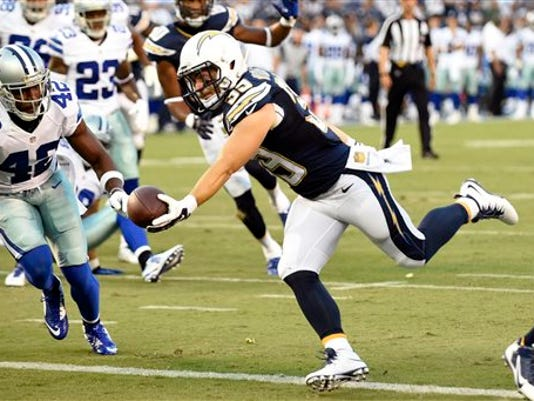 San Diego Chargers running back Danny Woodhead scores a touchdown against the Dallas Cowboys during the first half of an NFL preseason football game Thursday, Aug. 13, 2015 in San Diego. (AP Photo/Denis Poroy)