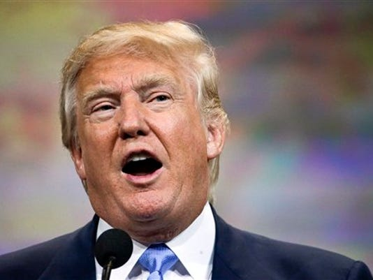 FILE - In this April 10, 2015, file photo, Donald Trump speaks at the National Rifle Association convention in Nashville, Tenn.