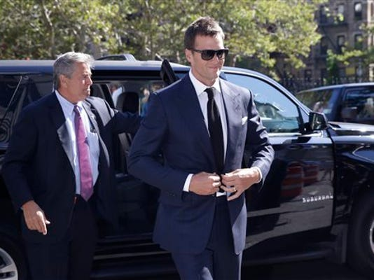 FILE - In this Aug. 12, 2015, file photo, New England Patriots quarterback Tom Brady arrives at federal court in New York.