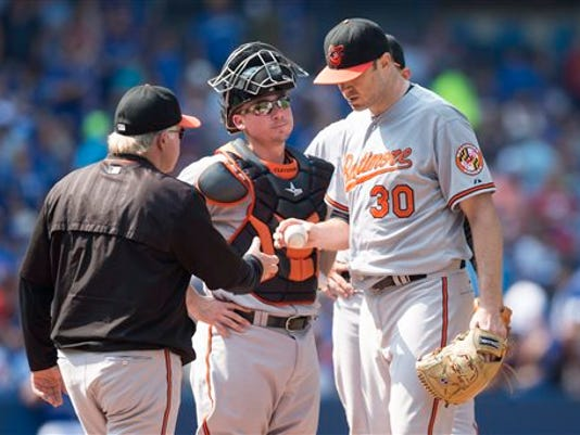 Baltimore Orioles starting pitcher Chris Tillman, right, hands the ball to manager Buck Showalter, left, as catcher Steve Clevenger looks on during fourth-inning against the Toronto Blue Jays in Toronto on Sunday.