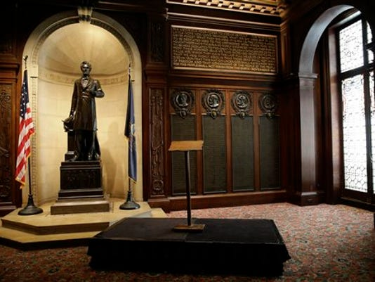 This photo shows the lectern President Abraham Lincoln used to deliver the Gettysburg Address before a news conference at The Union League of Philadelphia, Friday, Aug. 7, 2015, in Philadelphia. Pope Francis will use the lectern when he speaks outside Philadelphia's Independence Hall in September.