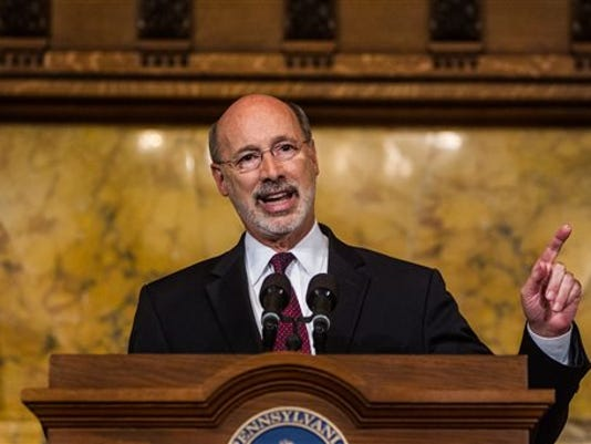 Pennsylvania Gov. Tom Wolf speaks during a news conference at the state Capitol on June 30.