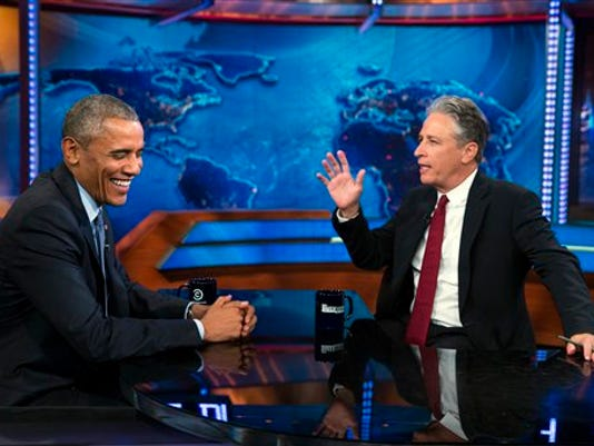 """President Barack Obama, left, talks with Jon Stewart, host of """"The Daily Show"""" during a taping on Tuesday, July 21, 2015, in New York."""