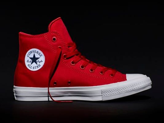 This photo shows the new Fall 2015 Chuck Taylor All Star II red high top sneaker, a modern adaptation of the original Chuck Taylor All Star.