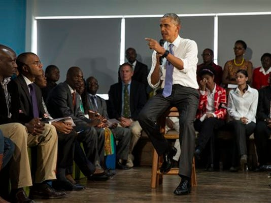 President Barack Obama speaks during a meeting with civil society leaders at the YALI Regional Leadership Center, on Sunday, July 26, 2015, in Nairobi. On the final day of his visit in Kenya, Obama laid out his vision for Kenya's future and broad themes of U.S.-Kenya relations.