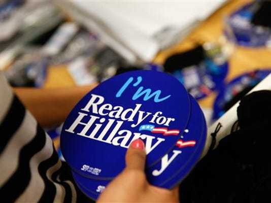 FILE - In this April 3, 2015, file photo, Ready for Hillary apparel and accessories are packed up at the Ready for Hillary super PAC store in Arlington, Va. Democrats running for president's super PAC filings account for less than 9 percent of the total super PAC haul so far, according to an Associated Press analysis that compared money raised by formal presidential campaigns with what the super PACs say they plan to report having raised on Friday, July 31, 2015.