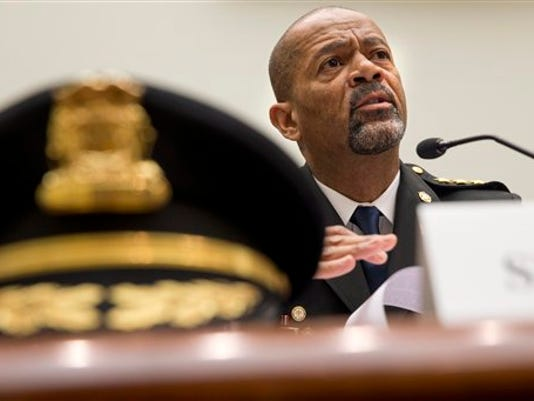 Milwaukee County Sheriff David Clarke Jr. testifies in May on Capitol Hill in Washington. A majority of blacks in the U.S., more than three out of five, say they or a family member have personal experience with being treated unfairly by the police, and their race is the reason why.