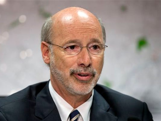 Pennsylvania Gov. Tom Wolf speaks during a news conference, Tuesday, Aug. 11, 2015, in Norristown, Pa. Pennsylvania is a month and a half into its new fiscal year without a state budget. (AP Photo/Matt Rourke)