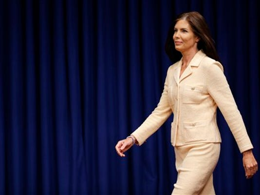 Pennsylvania Attorney General Kathleen Kane arrives for a news conference, Wednesday, Aug. 12, 2015, at the state Capitol in Harrisburg, Pa.