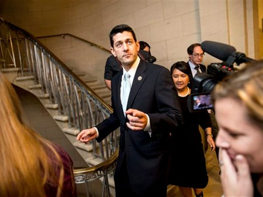 Rep. Paul Ryan, R- Wis., leaves his office before a House GOP meeting, Tuesday, Oct. 20, 2015, on Capitol Hill in Washington.