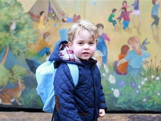 In this handout photograph provided by Kensington Palace on Wednesday, taken by Kate, The Duchess of Cambridge, Britain's Prince George poses on his first day at the Westacre Montessori nursery school near Sandringham in Norfolk, England.