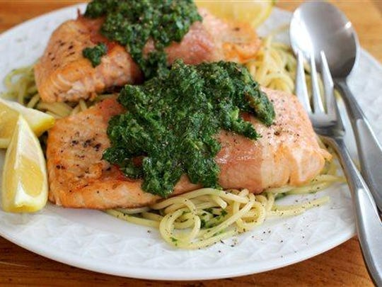 Prosciutto wrapped salmon with fresh herb sauce. The key is to cook the puree in a skillet with a wide bottom, which allows it to heat up in a matter of minutes.