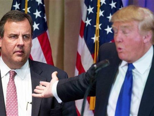 Republican presidential candidate Donald Trump, accompanied by New Jersey Gov. Chris Christie, left, speaks during a news conference on Super Tuesday primary election night, March 1, in the White and Gold Ballroom at The Mar-A-Lago Club in Palm Beach, Fla. Trump is considering former House Speaker Newt Gingrich and New Jersey Gov. Chris Christie, among what he previously described as a short list of possible running mates. Their inclusion was confirmed by people with direct knowledge of the vetting process who spoke on the condition of anonymity because they were not authorized to discuss the situation publicly.