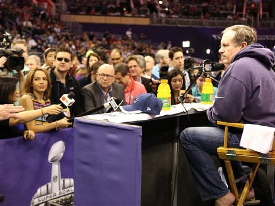 New England Patriots coach Bill Belichick praised Rutgers football in front of the crowd and the television camers on Super Bowl Media Day.
