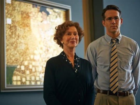 This photo provided by The Weinstein Company shows, Helen Mirren, left, and Ryan Reynolds, in a scene from the film, Woman in Gold.