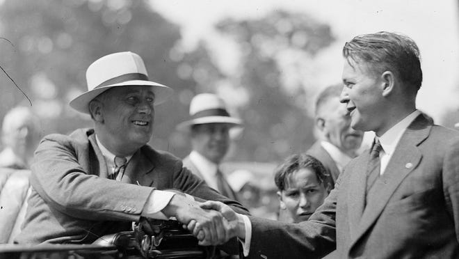 Franklin Roosevelt campaigns in Rochester in 1932.