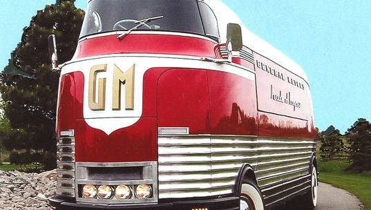 General Motors built 12  Futurliner Parade of Progress  buses to display its products.