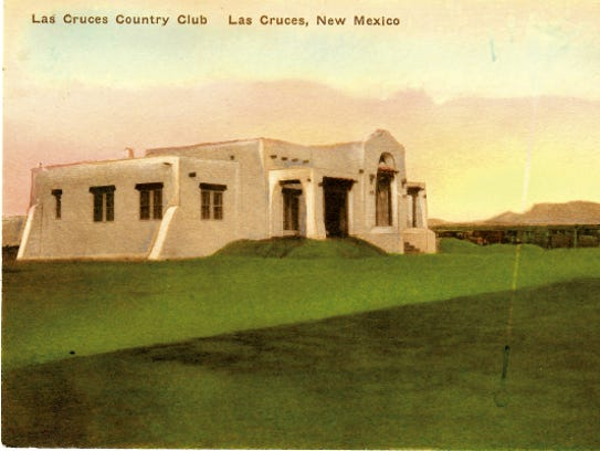 A vintage postcard depicting the Las Cruces Country