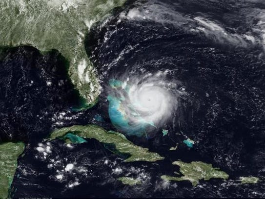Hurricane Andrew at maximum strength on Aug. 24, 1992 (Source: NOAA Satellites)