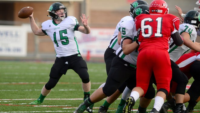 Mountain Heritage's offensive line has allowed Trey Robinson to pass and rush for more than 900 yards.