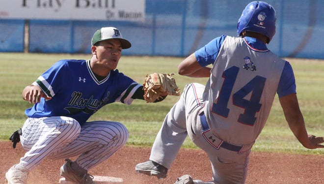 Montwood short stop Andrew Garcia was ready with the tag on Americas base runner Christian Estorga at second base in an April game at Montwood.
