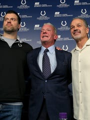 Form left, Indianapolis Colts GM Ryan Grigson, owner Jim Irsay and head coach Chuck Pagano.