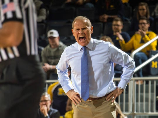 Michigan coach John Beilein reacts to a foul called on his team in the first half on Saturday, Nov. 11, 2017, at Crisler Center.