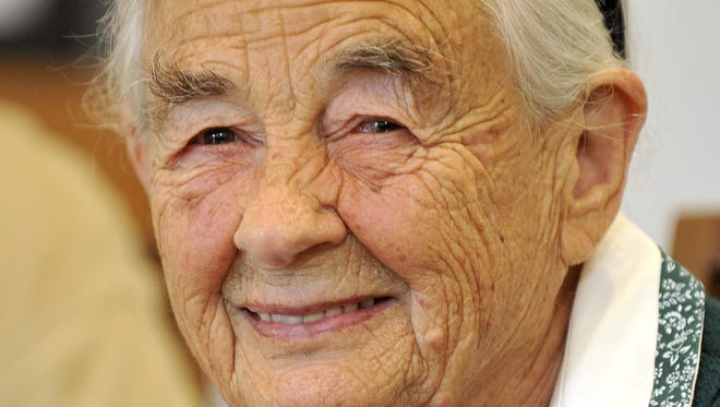 This July 25, 2008 photo shows Maria von Trapp, daughter of Austrian Baron Georg von Trapp, smiling during a press conference at the Villa Trapp  in Salzburg, Austria. The last surviving member of the famous Trapp Family Singers made famous in ?The Sound of Music? died this week at her home in Vermont.  She was 99.