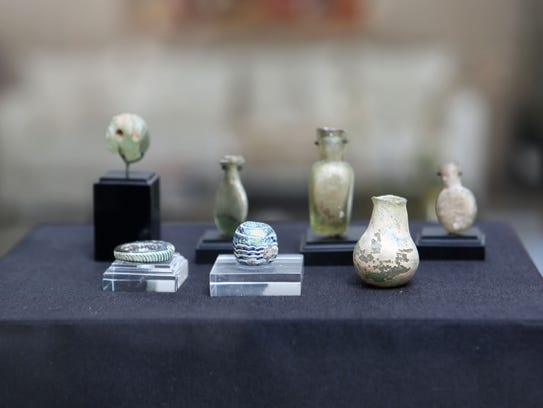 Roman glass displayed at the home of Varda Singer March