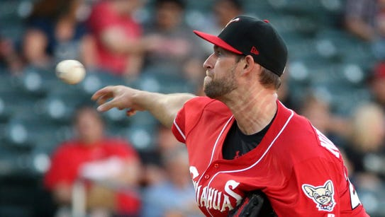 Chihuahuas pitcher Aaron Northcraft lets a pitch fly