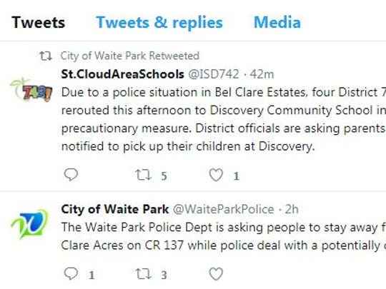 A screenshot captured at about 4 p.m. shows tweets from the city of Waite Park.