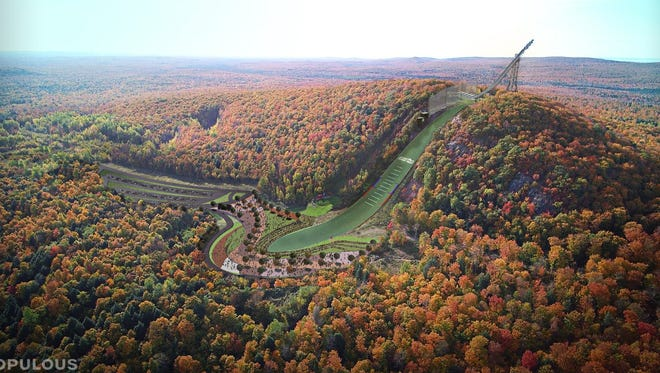 This artist's rendering shows the future Copper Peak, the world's smallest ski flying hill in Ironwood in Michigan's Upper Peninsula.