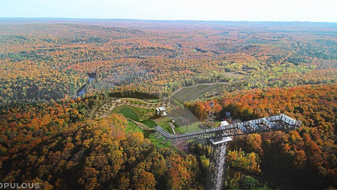 This artist rendering shows the future Copper Peak, the world's smallest ski flying hill in Ironwood in Michigan's Upper Peninsula.
