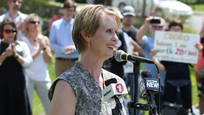 Cynthia Nixon, speaks during Tuesday's rally in New Paltz on May 8, 2018.