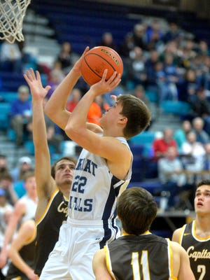 Great Falls High's Kevin Boes looks to score earlier this season against Helena Capital.