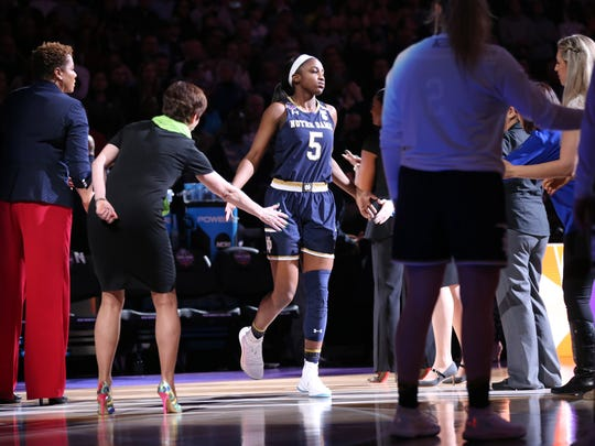 Princeton native Jackie Young (5) is introduced before Notre Dame's NCAA championship game against Mississippi State.